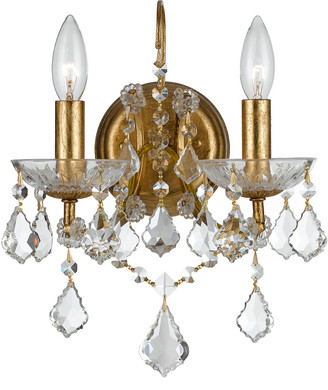 Crystorama Filmore 2-Light Antique Gold Crystal Sconce