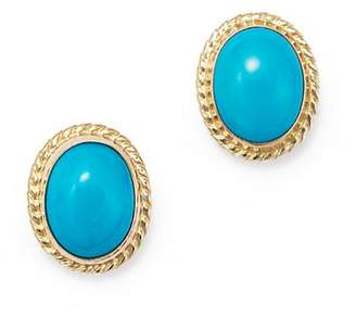 Bloomingdale's Turquoise Bezel Set Small Stud Earrings in 14K Yellow Gold - 100% Exclusive