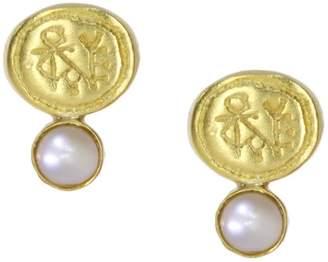 Ottoman Hands Gaye Engraved Coin & Pearl Stud Earrings