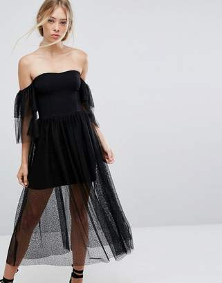 French Connection Tulle Layered Off-Shoulder Dress