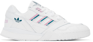 adidas White and Pink A.R. Trainer Sneakers