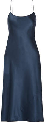 Theory - Telson Silk-satin Dress - Navy $375 thestylecure.com