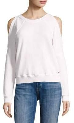 Star Cold-Shoulder Cotton Sweatshirt