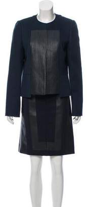 Akris Leather-Trimmed Cashmere Skirt Suit