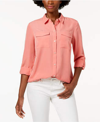 Charter Club Petite Cuffed-Sleeve Shirt, Created for Macy's