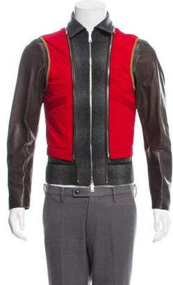 DSQUARED2 Leather-Trimmed Virgin Wool Jacket w/ Tags