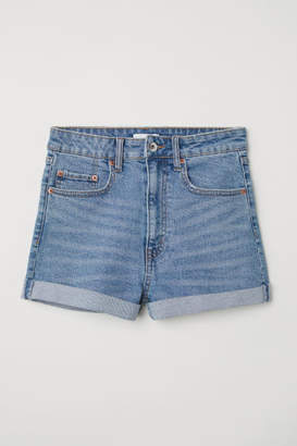 H&M Denim Shorts High Waist - Blue