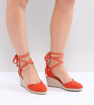 Truffle Collection Wide Fit Pom Espadrille Wedge