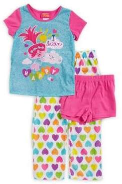 AME Sleepwear Little Girl's & Girl's Three-Piece Dream Happy Top, Shorts and Pants Pajama Set