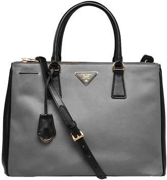 Prada Lux Double Zip Tote Saffiano Medium Mercurio Grey/Black
