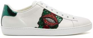 Gucci New Ace lips-embellished leather trainers