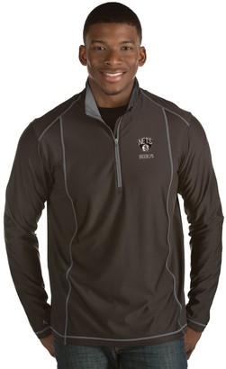 Antigua Men's Brooklyn Nets Tempo Quarter-Zip Pullover