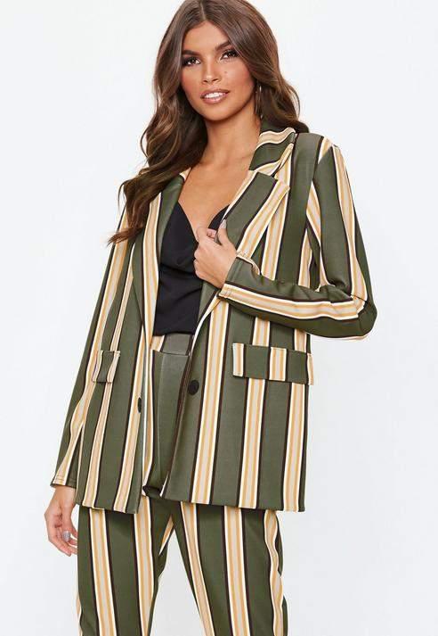 Khaki Striped Blazer, Khaki
