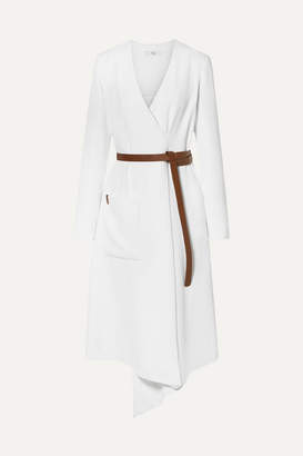 Tibi Leather-trimmed Wrap-effect Draped Crepe Midi Dress - White