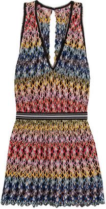 Cutout Crochet-knit Dress - Red