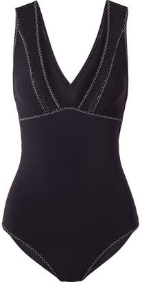 Stella McCartney Cutout Mesh-paneled Swimsuit - Midnight blue