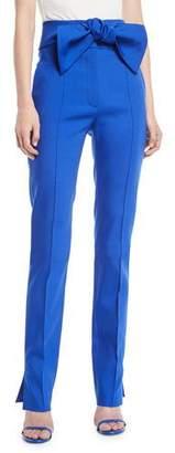 Valentino Wool-Blend Stretch Pants w/ Bow Tie Waist