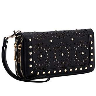 Heaye Unicorn Wallet Hollow Floral Wristlet Zip Around Pouch with Perforated Stud RFID Blocking