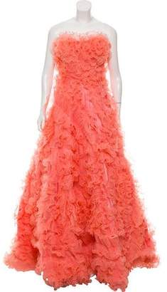Jovani Ruffled Strapless Evening Dress