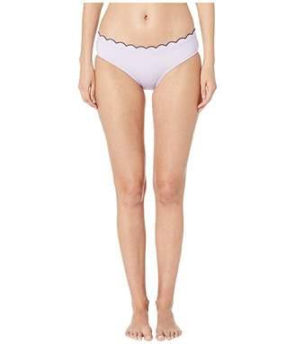 Kate Spade Contrast Scalloped Hipster Bikini Bottoms