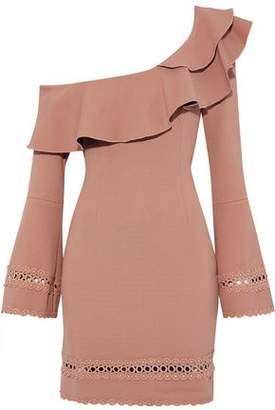 Nicholas One-Shoulder Ruffled Cady Mini Dress