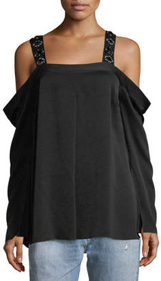 Elizabeth and James Yera Cold-Shoulder Embellished-Strap Blouse