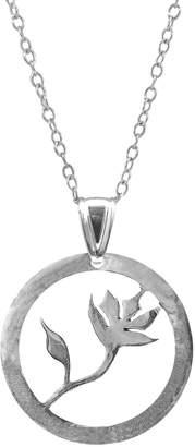 ANCHOR & CREW - Exotic Flower Disc Paradise Silver Necklace Pendant