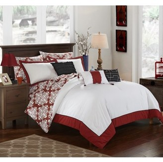 Hotel Collection Chic Home 10-Piece Lalita Marsala and White REVERSIBLE Medallion printed PLUSH King Bed In a Bag Comforter Set Marsala With sheet set
