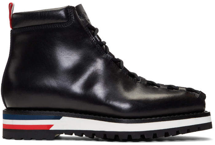 Moncler Gamme Bleu Black Leather Lace-Up Boots