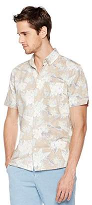 Isle Bay Linens Men's Slim Fit Short Sleeve Toile Vintage Printed Linen Cotton Casual Hawaiian Shirt L