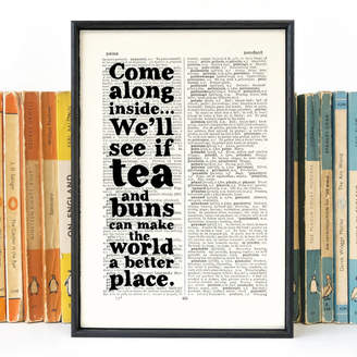 KitchenArt Bookishly 'Tea And Buns' Quote Print