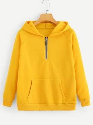 Shein Quarter Zip Hooded Sweatshirt