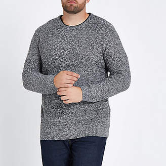River Island Mens Big and Tall grey slim fit textured jumper