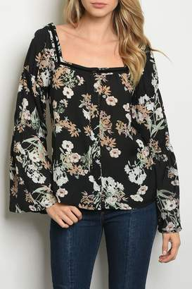 Roly Poly Black Floral Top