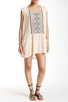 Love Stitch Drop Waist Embroidered Panel Mini Dress