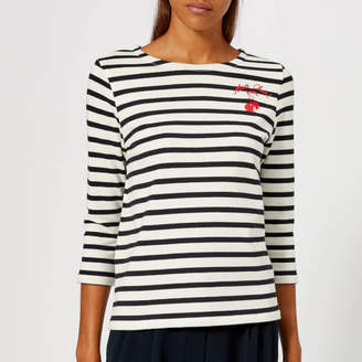 Whistles Women's Mon Cheri Embroidered Stripe Top