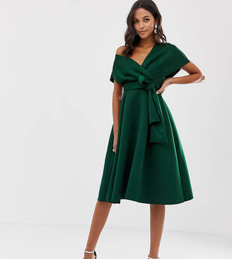 Asos Design DESIGN Fallen Shoulder Prom Dress with Tie Detail