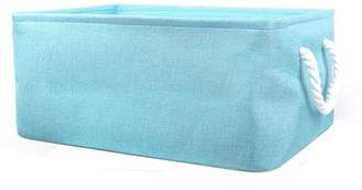 Unique Bargains Collapsible Storage Basket Bin Toys Organizer Box Fabric Baskets Sky Blue