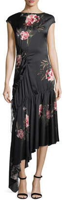 Sachin + Babi Huma Floral-Print Asymmetric Drawstring Satin Cocktail Dress