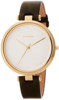 Skagen Women's Leather Strap Watch $195 thestylecure.com