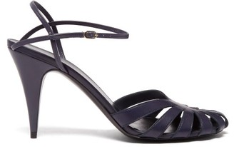 The Row Tango Cut Out Leather Sandals - Womens - Navy