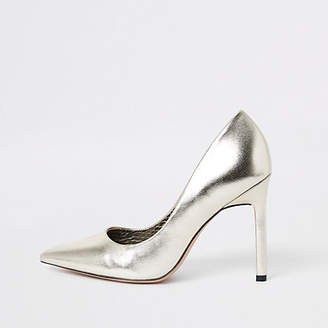 River Island Gold pointed toe court shoes