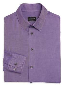 Armani Collezioni Micro-Herringbone Dress Shirt