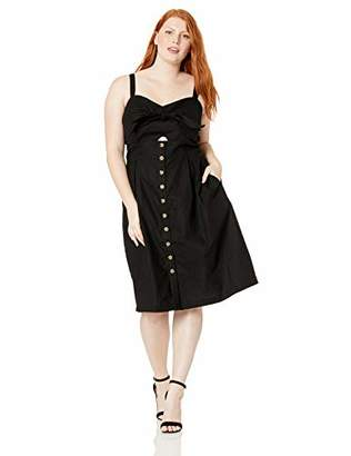 City Chic Women's Apparel Women's Plus Size Sweetheart Neckline Dress with on Tortoiseshell Button Front