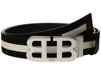 Bally Mirror B Buckle Stripe Canvas and Leather Belt