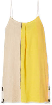 Lemlem Zena Frayed Embroidered Cotton-blend Gauze Mini Dress - Yellow