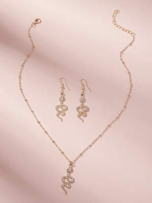Shein Rhinestone Engraved Snake Pendant Necklace 1pc With Earrings 1pair
