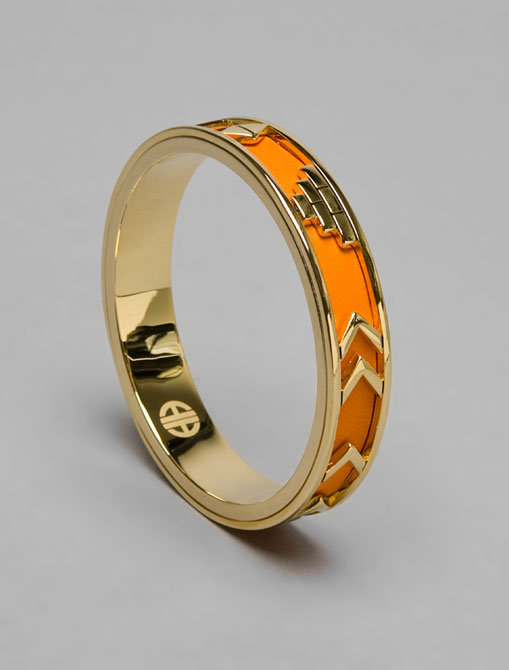 House of Harlow Gold Aztec Bangle with Orange