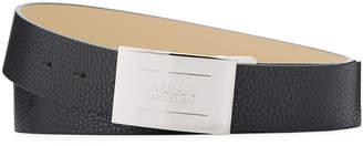 Armani Collezioni Pebbled Engraved Plaque-Buckle Belt