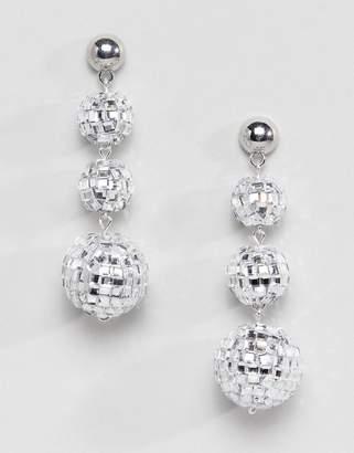 Asos DESIGN Holidays earrings in disco ball design in silver